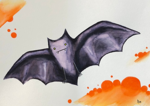 Halloween Bat Watercolor