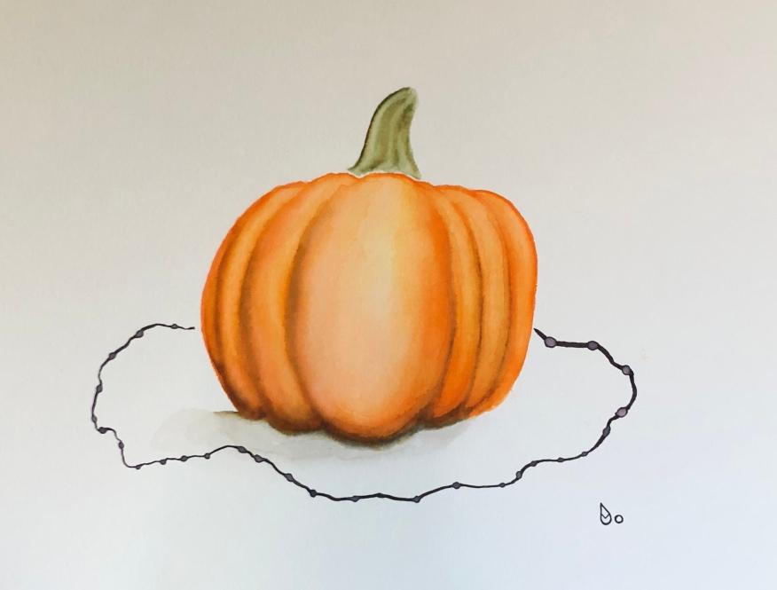 Halloween Pumpkin Watercolor