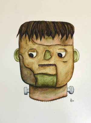 Halloween Frankenstein's Monster Watercolor