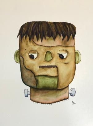 Halloween Frankenstein's Monster Watercolor
